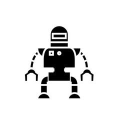 industrial robot icon black vector image vector image