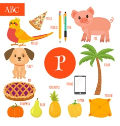 Letter P Cartoon alphabet for children Pear pig vector image