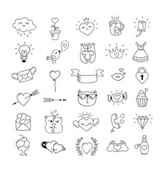 Love symbols and hand drawn valentines day icons vector