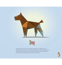 Polygonal of brown dog modern pet icon low poly vector
