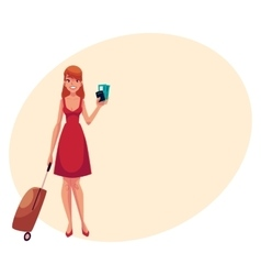 Pretty woman in red dress with suitcase ticket vector image vector image