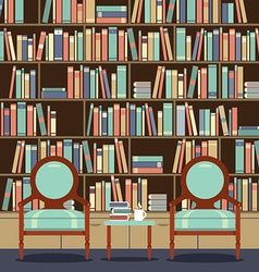 Reading seats in front of a bookcase vector
