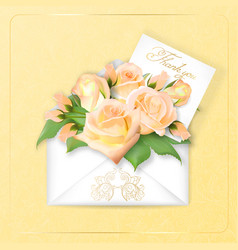 roses with a note in an envelope template for vector image vector image