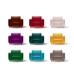 set of colored armchairs vector image vector image