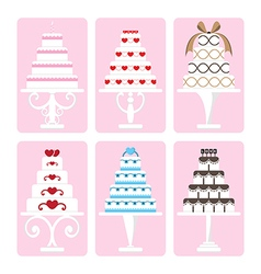 set of wedding cake vector image