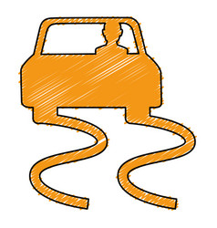 slippery road isolated icon vector image