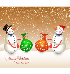 snow men red bag isolated on a white background vector image vector image