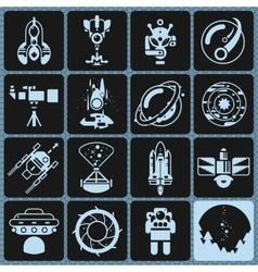 Space Icons Monochrome vector image vector image
