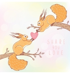 two squirrels color vector image vector image