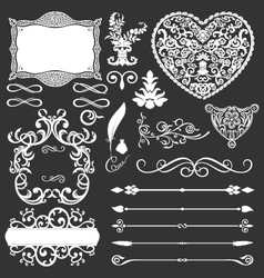 vintage floral frames and lines elements vector image vector image