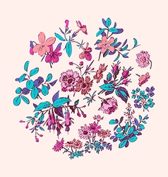 Meadow flower and leaf wreath isolated on pink vector image
