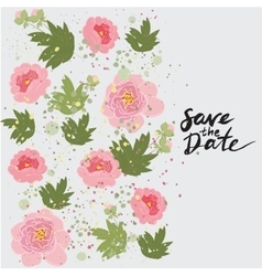 Greeting hand-drawn peony floral vector