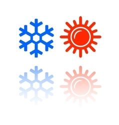 Snowflake and sun symbols vector