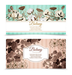 Dry flowers horizontal banners vector