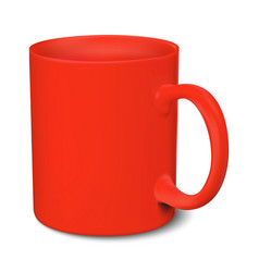 Red mug realistic 3d mockup on a white background vector