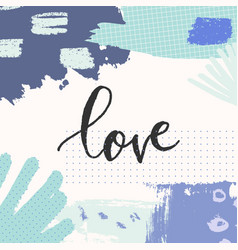 hand drawn floral abstract love greeting card vector image