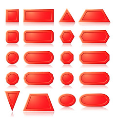 Red buttons shapes vector