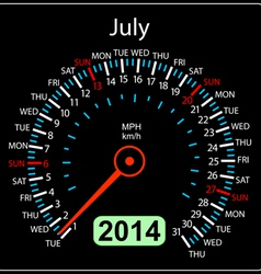 2014 year calendar speedometer car in July vector image