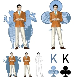 King of clubs caucasian male party host with vector image