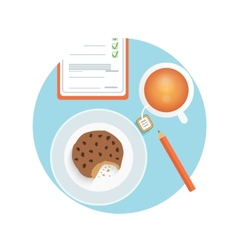 Healthy quick snack with cup of coffee biscuit vector
