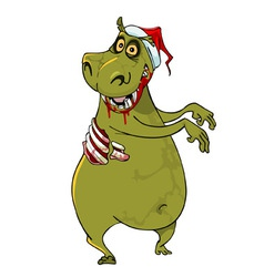 Cartoon funny hippo zombie in santa hat vector