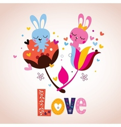 Bunny characters in love vector