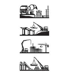 Various types of construction scenes vector image