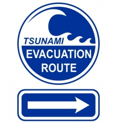 Tsunami evacuation route sign vector