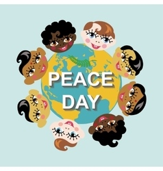 Peace dayearth globechildren of various nation vector