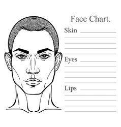 Male face chart make up artist blank vector