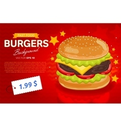 Cheeseburger sale banner template vector