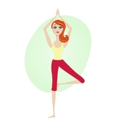 Women yoga tree asana posture standing on one leg vector