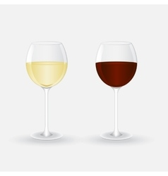 Glasses with white and red wine vector