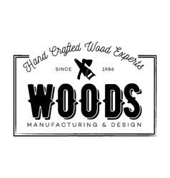Hand crafted wood experts badge vector