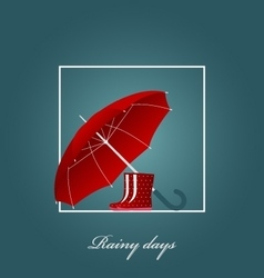 Red umbrella and bright boots on a rainy day vector
