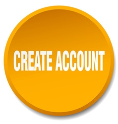 Create account orange round flat isolated push vector