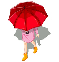 A topview of a woman using umbrella vector image vector image