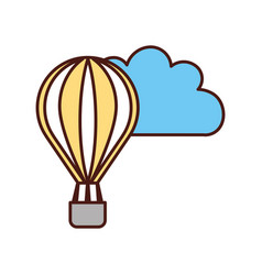 Beautiful fantasy cloud with balloon air hot vector