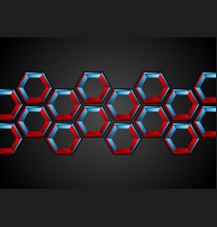 blue and red hexagons abstract tech background vector image vector image