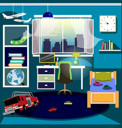 boys room with furniture vector image vector image