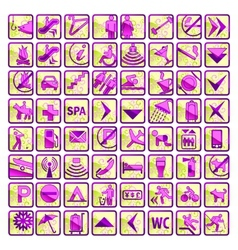 Bright set of 64 stylish hotel icons vector image