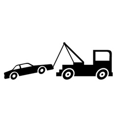 Broken down car with crane vector image vector image