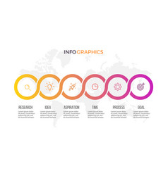 business infographics presentation with 6 steps vector image vector image
