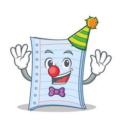 Clown notebook character cartoon design vector