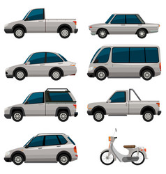 different types of vehicles in white color vector image vector image