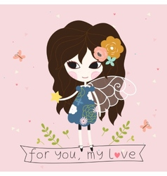 Fairy with star in the hand card vector
