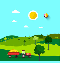 Field nature cartoon with trees and tractor sunny vector