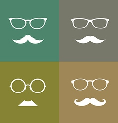 Glasses and mustache set vector