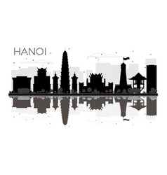 hanoi city skyline black and white silhouette vector image vector image
