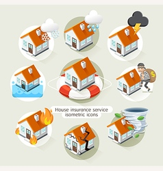 House insurance business service isometric icons vector